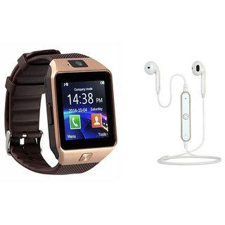 Mirza DZ09 Smart Watch and S6 Bluetooth Headsetfor SAMSUNG GALAXY A9 (DZ09 Smart Watch With 4G Sim Card, Memory Card| S6 Bluetooth Headset)