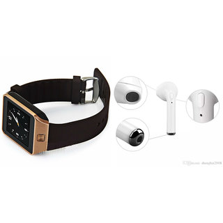 Mirza DZ09 Smart Watch and HBQ I7R Bluetooth Headphone for SONY xperia tipo dual(DZ09 Smart Watch With 4G Sim Card, Memory Card| HBQ I7R Bluetooth Headphone)