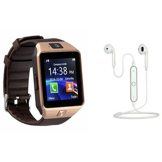 Mirza DZ09 Smart Watch and S6 Bluetooth Headsetfor SAMSUNG GALAXY S 5 SPORT(DZ09 Smart Watch With 4G Sim Card, Memory Card| S6 Bluetooth Headset)