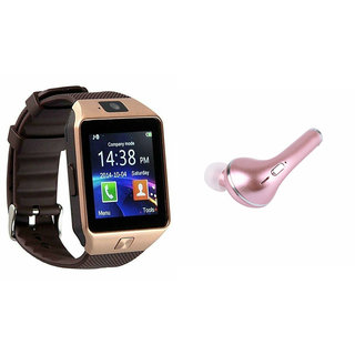 Mirza DZ09 Smart Watch and HBQ I7R Bluetooth Headphone for LG SPIrit (DZ09 Smart Watch With 4G Sim Card, Memory Card| HBQ I7R Bluetooth Headphone)