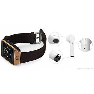 Mirza DZ09 Smart Watch and HBQ I7R Bluetooth Headphone for LG f60(DZ09 Smart Watch With 4G Sim Card, Memory Card| HBQ I7R Bluetooth Headphone)