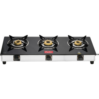 Fabiano ISI Marked Calix SS-300 glasstop Gas stove 3Br cooktop with Brass Burner with free Apron and gas lighter
