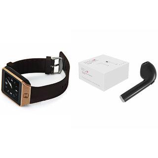 Mirza DZ09 Smart Watch and HBQ I7R Bluetooth Headphone for MOTOROLA ex109(DZ09 Smart Watch With 4G Sim Card, Memory Card| HBQ I7R Bluetooth Headphone)