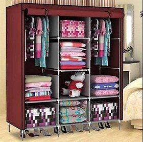 (2 YEARS WARRANTY)RBSHOPPY 8 Shelfs 2 Hangers wrought iron foldable Wardrobe Wrought iron structure and Fabric cover cloth
