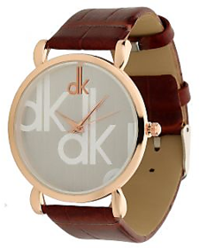 DK Rose Gold White Dial Brown Belt Analog Watch For Men