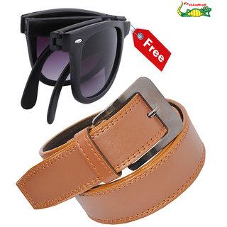 Elligator Mens Belt With Free Black Foldable Sunglasses
