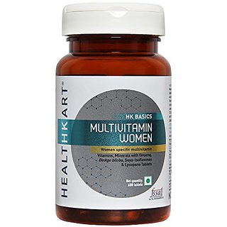 HealthKart Multivitamin Women With Ginseng Extract,Ginkgo Biloba Extract Lycopene And Multiminerals-60 Vegetarian Tablets