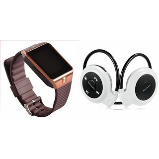 Mirza DZ09 Smart Watch and Mini 503 Bluetooth Headphone for LG L90.(DZ09 Smart Watch With 4G Sim Card, Memory Card| Mini 503 Bluetooth Headphone)