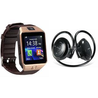 Mirza DZ09 Smart Watch and Mini 503 Bluetooth Headphone for SAMSUNG GALAXY MEGA PLUS(DZ09 Smart Watch With 4G Sim Card, Memory Card| Mini 503 Bluetooth Headphone)