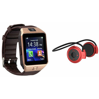 Mirza DZ09 Smart Watch and Mini 503 Bluetooth Headphone for MICROMAX CANVAS KNIGHT CAMEO(DZ09 Smart Watch With 4G Sim Card, Memory Card| Mini 503 Bluetooth Headphone)