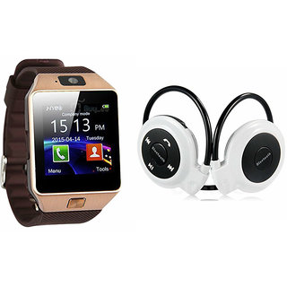 Mirza DZ09 Smart Watch and Mini 503 Bluetooth Headphone for ASUS ZENFONE 5(DZ09 Smart Watch With 4G Sim Card, Memory Card| Mini 503 Bluetooth Headphone)
