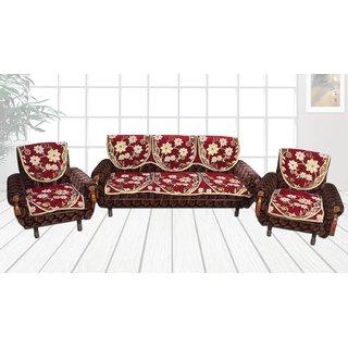 Choco Creations Elegant  Classic Premium Quality 5 Seater Sofa Cover SetCCSOFAVELVET002R