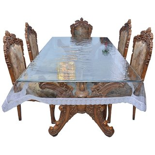Delfi Club Dining Table Cover Transparent with Silver Lace 8 Seater