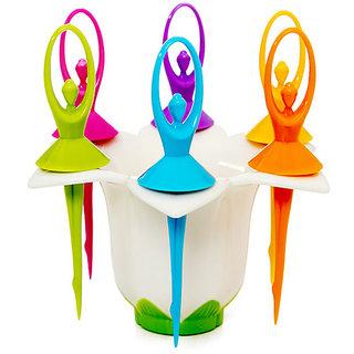 SRK Dancing Dolls Fruit Forks 6 Pcs With Fork Stand