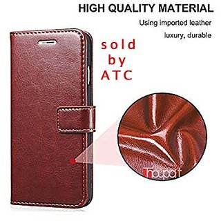 sports shoes 7d39a 89036 Redmi 5A Leather Flip Cover Brown