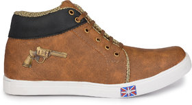 Groofer Men's Tan High Top Lace-Up Casual Shoes