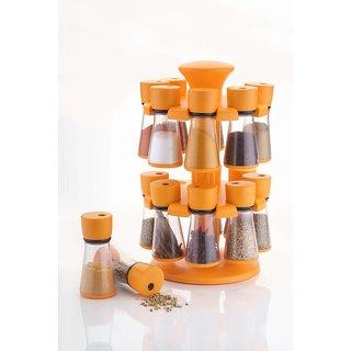 SRK Orange Revolving Spice Rack Container 16 Pcs Set