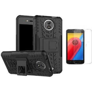 Motorola moto C plus defender case black with tempered glass 0.33mm 2.5D Curved glass