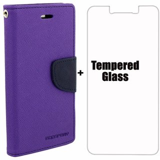 Mobimon Stylish Luxury Mercury Magnetic Lock Diary Wallet Style Flip case cover for J7 Prime - Purple + Tempered Glass