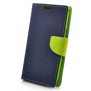 Mobimon Stylish Luxury Mercury Magnetic Lock Diary Wallet Style Flip case cover for OPPO A37 - Blue