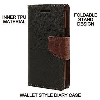 Mobimon Stylish Luxury Mercury Magnetic Lock Diary Wallet Style Flip case cover for Samsung Galaxy J5 Prime - Brown