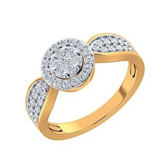 Nirvana 14K Yellow Gold Diamond Ring For Women