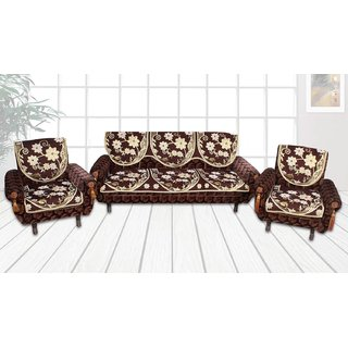 Choco Creations Elegant  Classic Premium Quality 5 Seater Sofa Cover SetCCSOFAVELVET011R