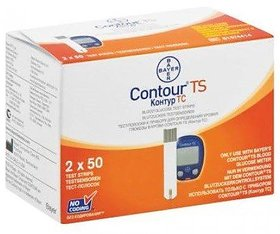 Bayer Contour TS Blood Sugar 100 Test Strip New For Bayer TS Meter