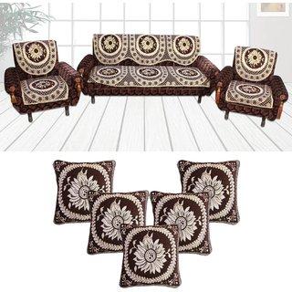 Choco Creations Elegant  Classic Premium Quality 5 Seater Sofa Cover Set +5 Pcs Cousion CoversCCSOFACOMCOU003R