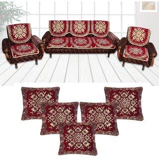 Choco Creations Elegant  Classic Premium Quality 5 Seater Sofa Cover Set +5 Pcs Cousion CoversCCSOFACOMCOU005R