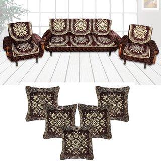 Choco Creations Elegant  Classic Premium Quality 5 Seater Sofa Cover Set +5 Pcs Cousion CoversCCSOFACOMCOU006R