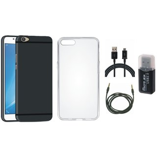Oppo F5 Soft Silicon Slim Fit Back Cover with Memory Card Reader, Silicon Back Cover, USB Cable and AUX Cable
