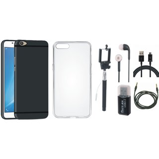 Oppo F5 Soft Silicon Slim Fit Back Cover with Memory Card Reader, Silicon Back Cover, Selfie Stick, Earphones, USB Cable and AUX Cable