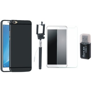 Oppo F5 Soft Silicon Slim Fit Back Cover with Memory Card Reader, Free Selfie Stick and Tempered Glass