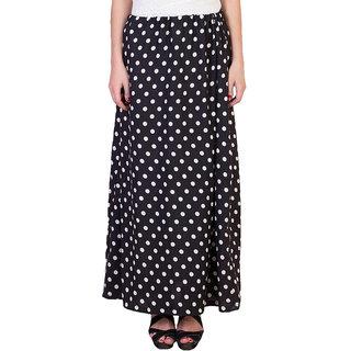 Raabta Fashion Black  White Polka Dotted Long Skirt for Women's