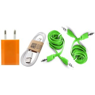 (Tricolor combo No 8 ) 4 in 1 combo of Usb Adopter, Charging Data Cable and 2 pcs Aux cable by KSJ