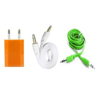 (Tricolor combo No 10 ) 3 in 1 combo of Usb Adopter and 2 pcs Aux cable by KSJ