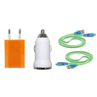 (Tricolor combo No 9 ) 4 in 1 combo of Usb Adopter, car charger and 2 Charging Data Cables by KSJ