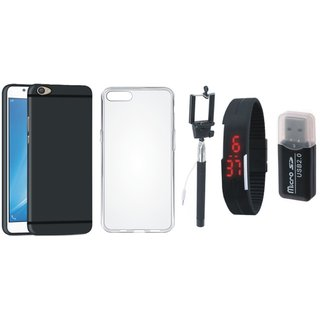Oppo F5 Soft Silicon Slim Fit Back Cover with Memory Card Reader, Silicon Back Cover, Selfie Stick and Digtal Watch