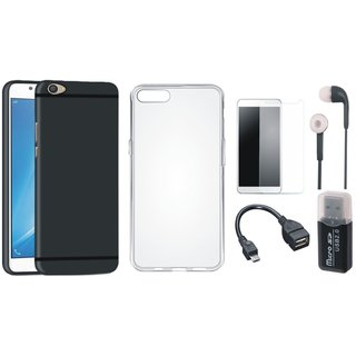Oppo F5 Silicon Slim Fit Back Cover with Memory Card Reader, Silicon Back Cover, Tempered Glass, Earphones and OTG Cable