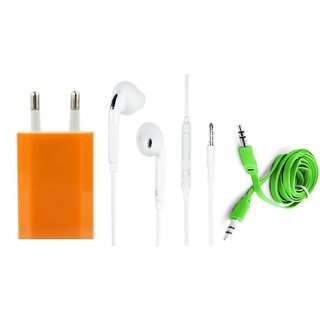 (Tricolor combo No 19) USB Adopter, S6 Earphone  Aux Cable by KSJ Accessories