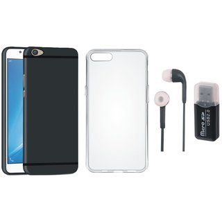 Oppo F5 Silicon Slim Fit Back Cover with Memory Card Reader, Silicon Back Cover and Earphones