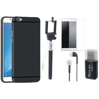 Oppo F5 Silicon Slim Fit Back Cover with Memory Card Reader, Free Selfie Stick, Tempered Glass and Earphones