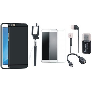 Oppo F5 Silicon Slim Fit Back Cover with Memory Card Reader, Free Selfie Stick, Tempered Glass, Earphones and OTG Cable