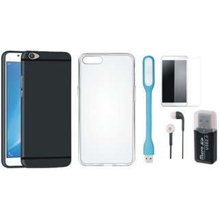 Oppo F5 Silicon Slim Fit Back Cover with Memory Card Reader, Silicon Back Cover, Tempered Glass, Earphones and USB LED Light
