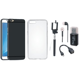 Oppo F5 Silicon Slim Fit Back Cover with Memory Card Reader, Silicon Back Cover, Selfie Stick, Earphones and OTG Cable