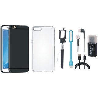 Oppo F5 Silicon Slim Fit Back Cover with Memory Card Reader, Silicon Back Cover, Selfie Stick, Earphones, USB LED Light and USB Cable