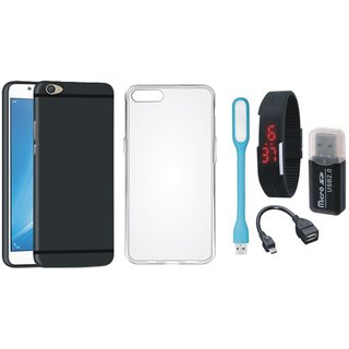 Oppo F5 Premium Quality Cover with Memory Card Reader, Silicon Back Cover, Digital Watch, OTG Cable and USB LED Light