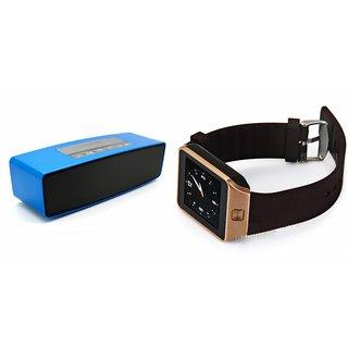 Mirza DZ09 Smartwatch and Box-2 Bluetooth Speaker  for SAMSUNG GALAXY XCOVER 3(DZ09 Smart Watch With 4G Sim Card, Memory Card| Box-2  Bluetooth Speaker, Mini Sound Link Speaker)