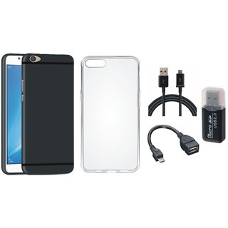 Oppo F5 Premium Quality Cover with Memory Card Reader, Silicon Back Cover, OTG Cable and USB Cable